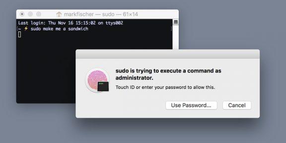Как на MacBook Pro быстро подтверждать команды «Терминала»