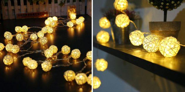 Новогодние гирлянды: гирлянда с фонариками из ротанга