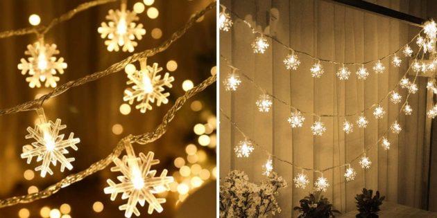 Новогодние гирлянды: гирлянда со снежинками