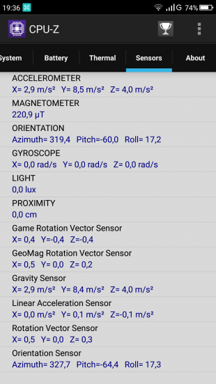 Umidigi S: CPU-Z датчики