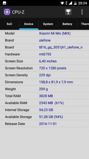 Ulefone Mix. CPU-Z система