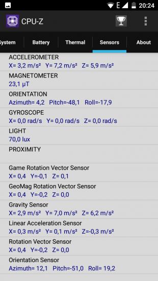 Ulefone Mix. CPU-Z датчики