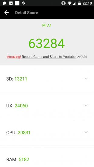 Xiaomi Mi A1: производительность