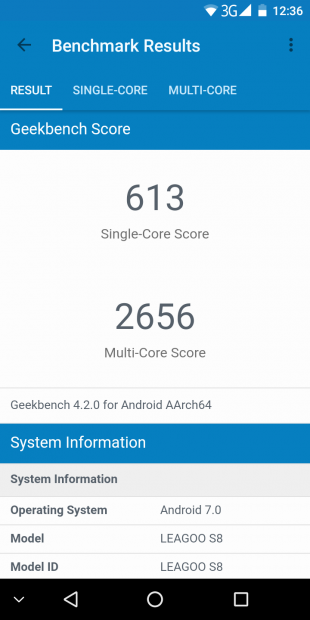 Leagoo S8: Geekbench