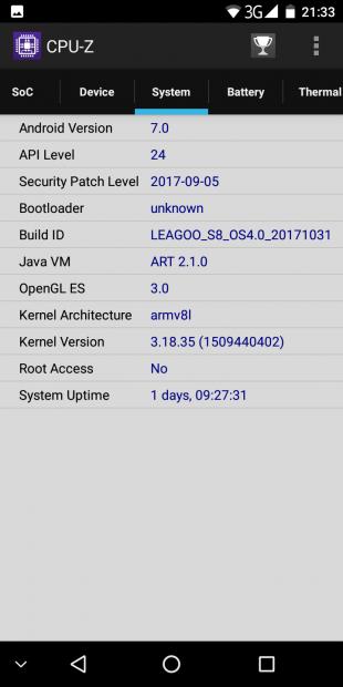 Leagoo S8: система 2