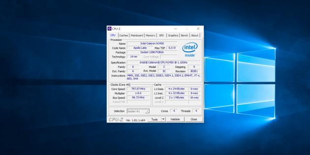 Chuwi LapBook Air. CPU-Z 1