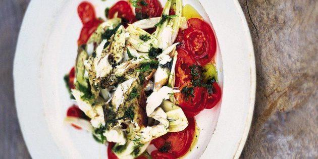 Тёплый Рыбный салат со свежими овощами