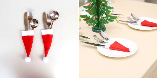 Новогодние подарки с AliExpress дешевле 100 рублей: Украшение для столовых приборов