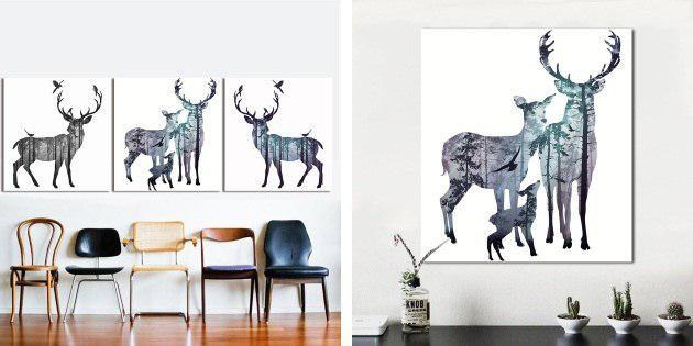 Плакат с оленями