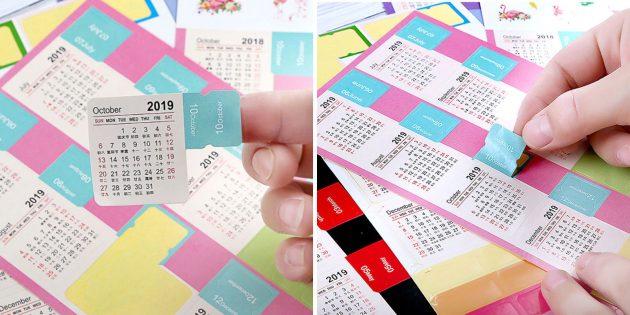 Новогодние подарки с AliExpress дешевле 100 рублей: Календарь-стикер