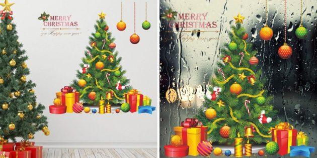 новогодние стикеры на окно и стену