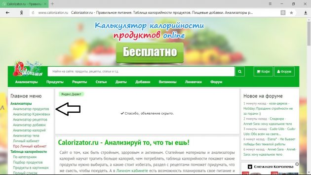 подсчёт калорий: сайт Calorizator