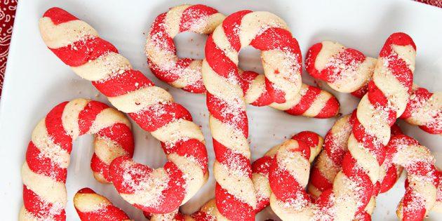 Новогоднее печенье «Карамельная трость»