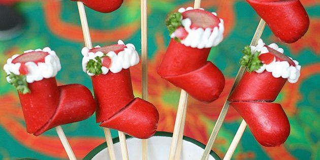 Рецепты новогодних блюд: Канапе «Рождественские носочки»