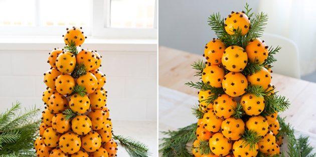 Как украсить стол на Новый год: мандариновое дерево