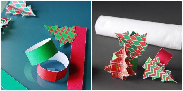 Как украсить новогодний стол: Кольца из бумаги