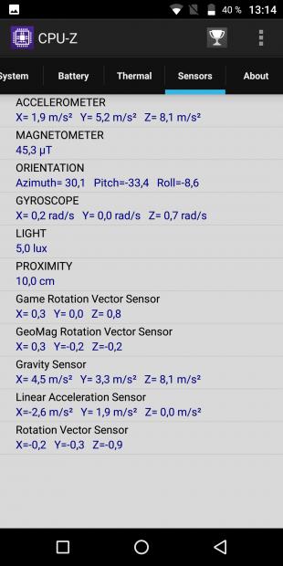 Vernee MIX 2: сенсоры