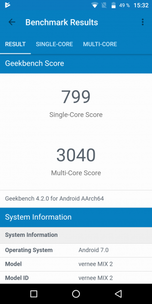 Vernee MIX 2: GeekBench