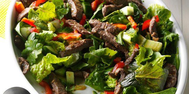 Блюда из говядины: Острый салат с говядиной и зеленью