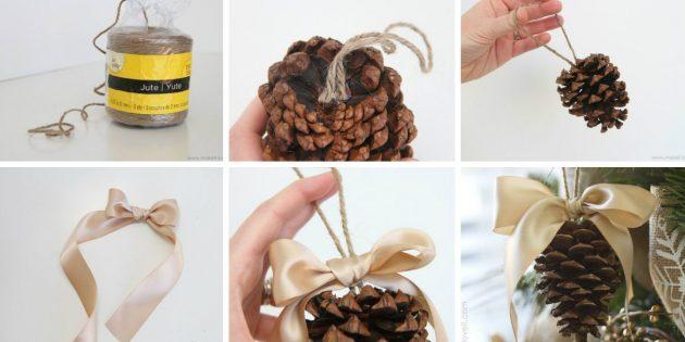 Новогодние игрушки своими руками: Шишки с бантиками