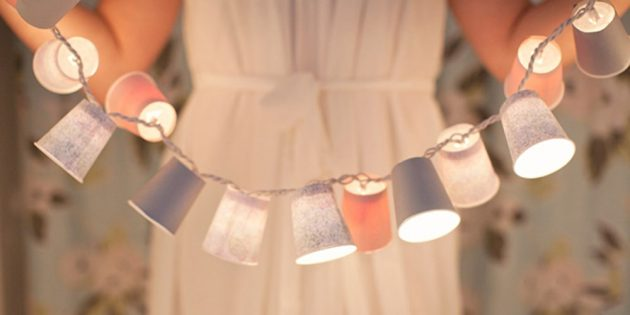 Как сделать гирлянду из бумажных стаканчиков своими руками