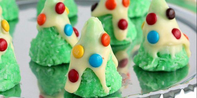 Новогодние блюда: Кокосовое печенье «Ёлочки»