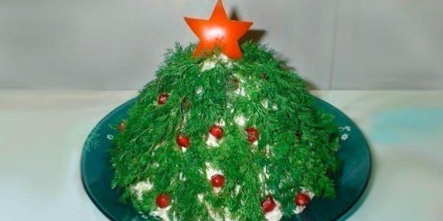 Рецепты новогодних блюд: салат с черносливом «Новогодняя ёлка»