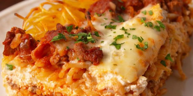 Лучшие блюда из говядины: Лазанья из спагетти с говядиной