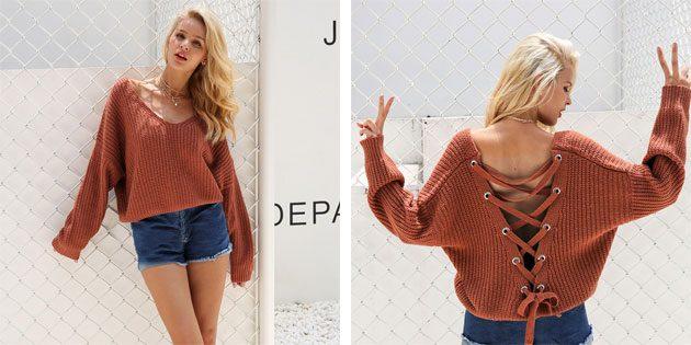 свитер со шнуровкой на спине