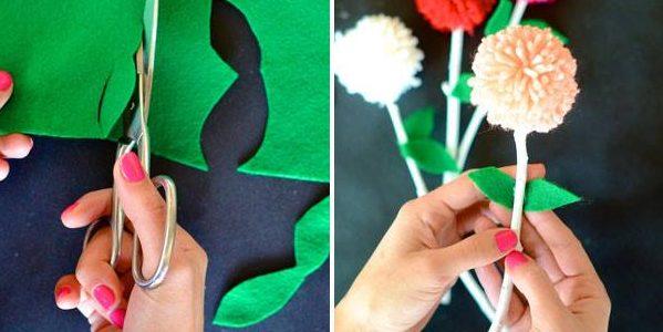 Подарки на 8 Марта своими руками: Букет из помпонов