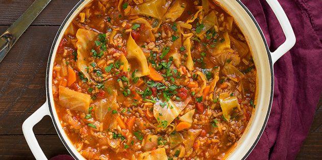Рецепты с капустой: Густой суп с капустой, рисом и говядиной