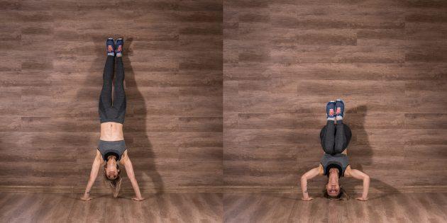 Домашние тренировки для начинающих: Отжимания в стойке на руках киппингом