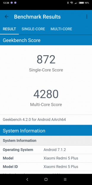 Xiaomi Redmi 5 Plus: Geekbench