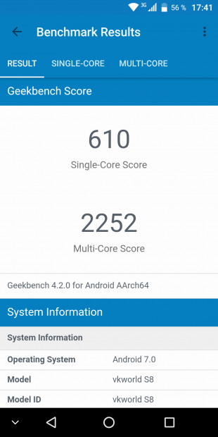 VKworld S8: Geekbench