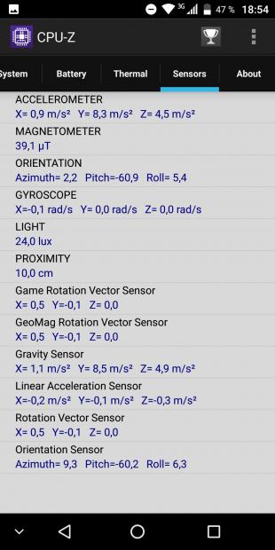 VKworld S8: сенсоры