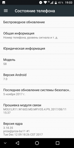 VKworld S8: состояние телефона