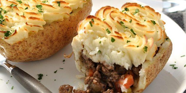 Картошка, фаршированная говядиной и овощами