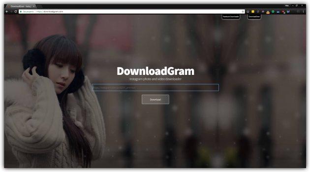 Как скачать фото из Instagram с помощью DownloadGram