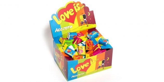 Что подарить девушке на 14 февраля: Блок жвачки Love is...