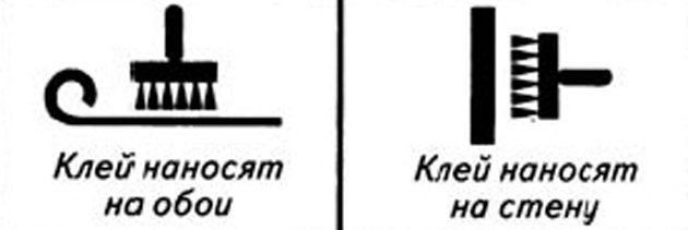 Какие обои выбрать для разных комнат: Пиктограмма, указывающая на способ нанесения клея