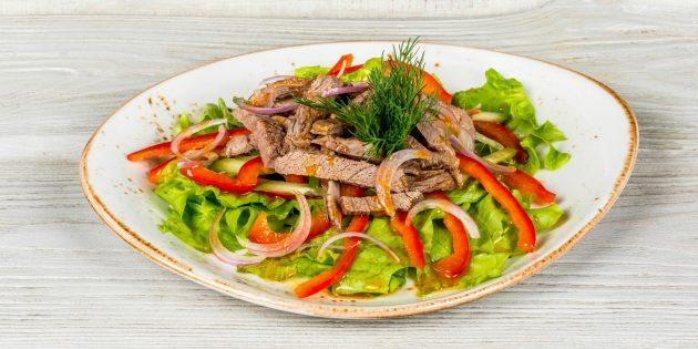 Лучшие блюда с говядиной: Острый салат с говядиной и зеленью