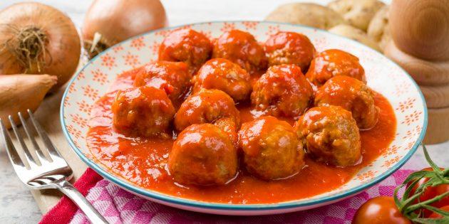 Лучшие блюда из говядины: фрикадельки в томатном соусе