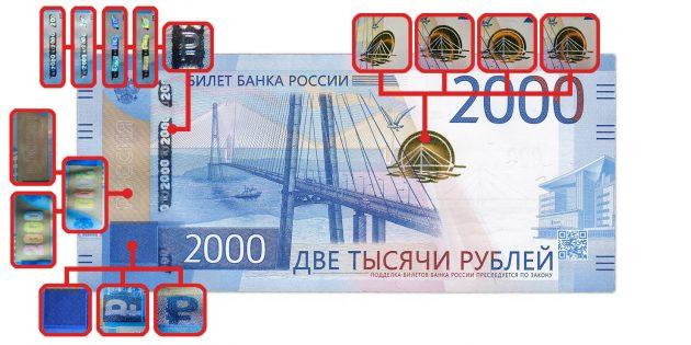 фальшивые деньги: признаки подлинности, заметные при изменении угла зрения, на 2 000 рублей