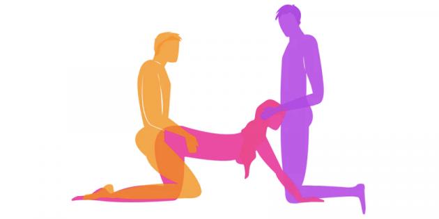 Позы секса двух мужчин и одна женщина