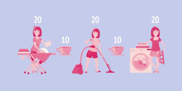 Чтобы эффективно справляться с домашними делами, ставьте таймер