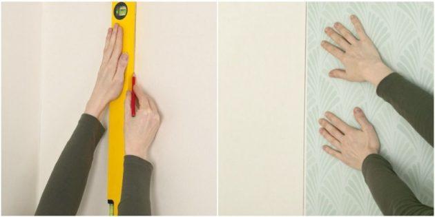 Как клеить обои: начертите на стене строго вертикальную линию