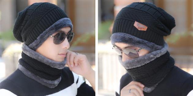 Мужская шапка с шарфом