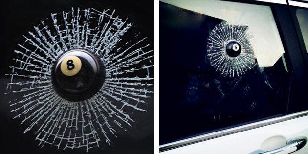 розыгрыши на 1 апреля: Наклейка на машину «Разбитое окно»