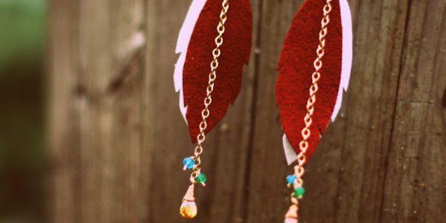 Подарки на 8 Марта своими руками: Серьги-перья
