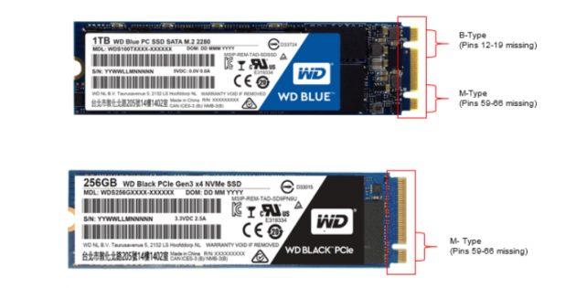 Какой SSD лучше: SSD M.2 c ключом B +M (верхний) и SSD M.2 с ключом M (нижний)